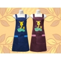 長頸鹿電繡圍裙-兩口