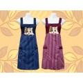 條紋貓電繡圍裙