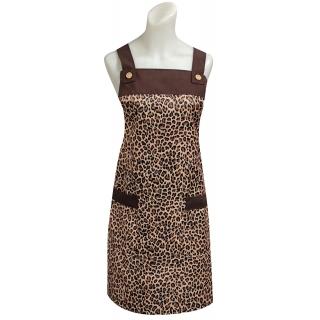 豹紋木扣圍裙-