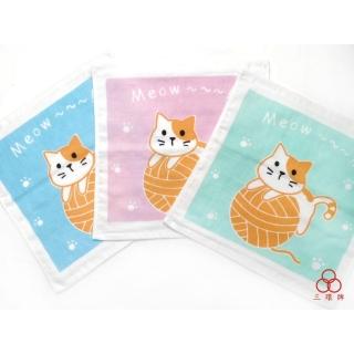 毛線球貓咪紗布小方巾
