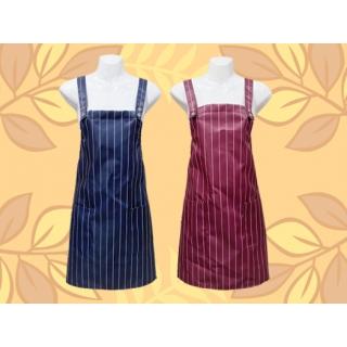 金屬扣條紋圍裙